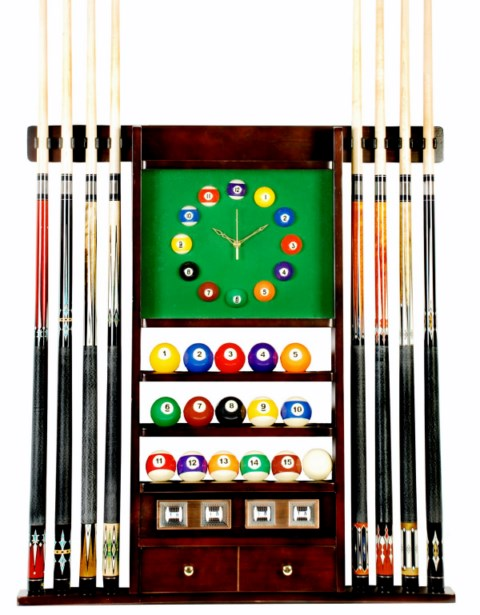 Cue Rack Only - 8 Pool - Billiard Stick & Ball Wall Rack W Clock Mahogany Finish